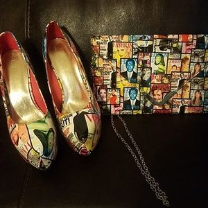 Used Multi Color magazine Shoes and purse